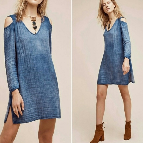Anthropologie Dresses & Skirts - Cloth & Stone Open Shoulder Chambray Tunic Dress